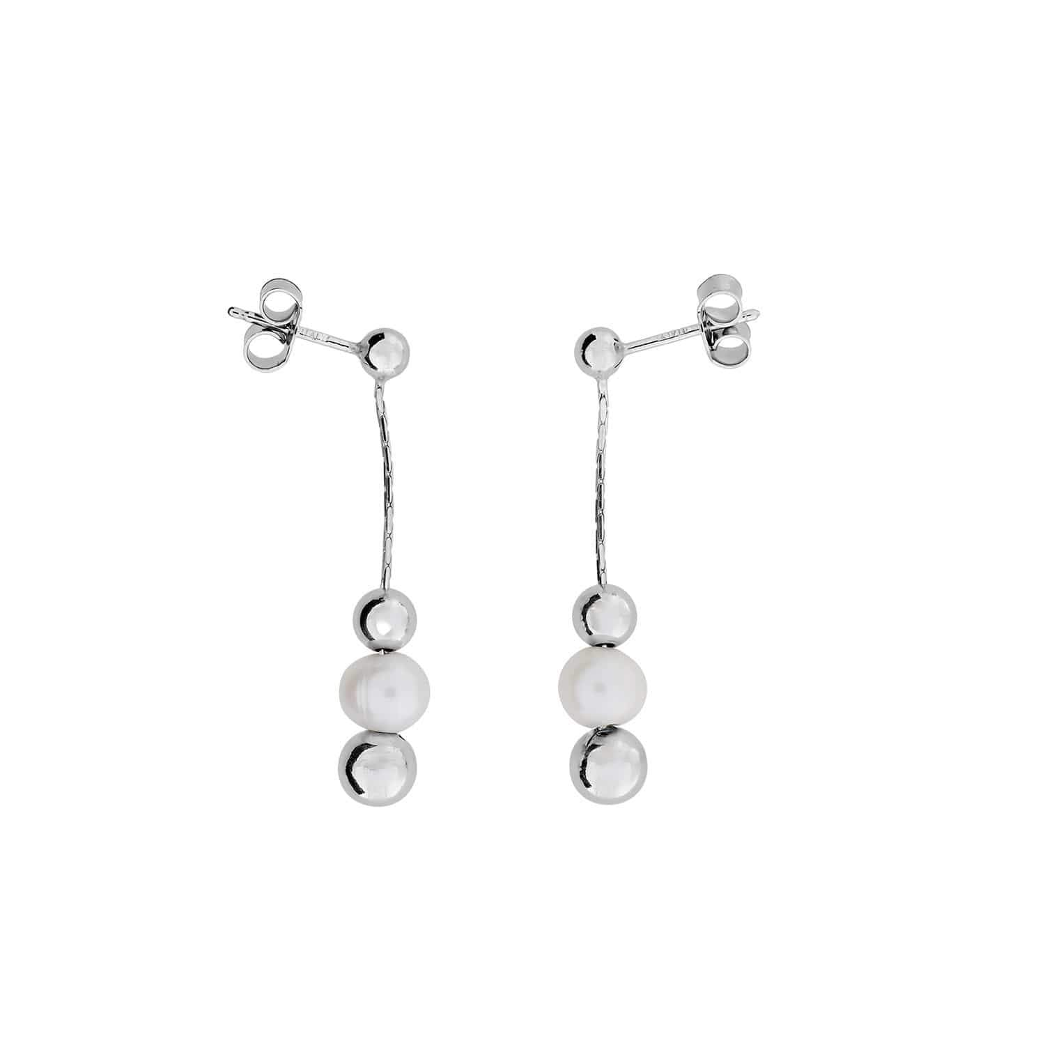 Silver Ball Earrings with Freshwater Pearl