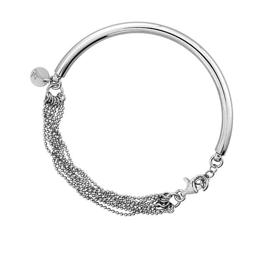 Silver Bracelet With Reflective Mesh Chain