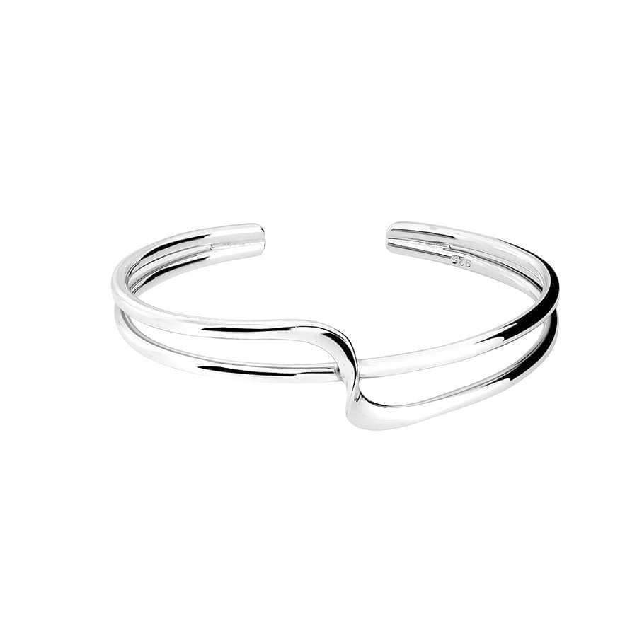 Silver Crossover Wave Cuff Bangle