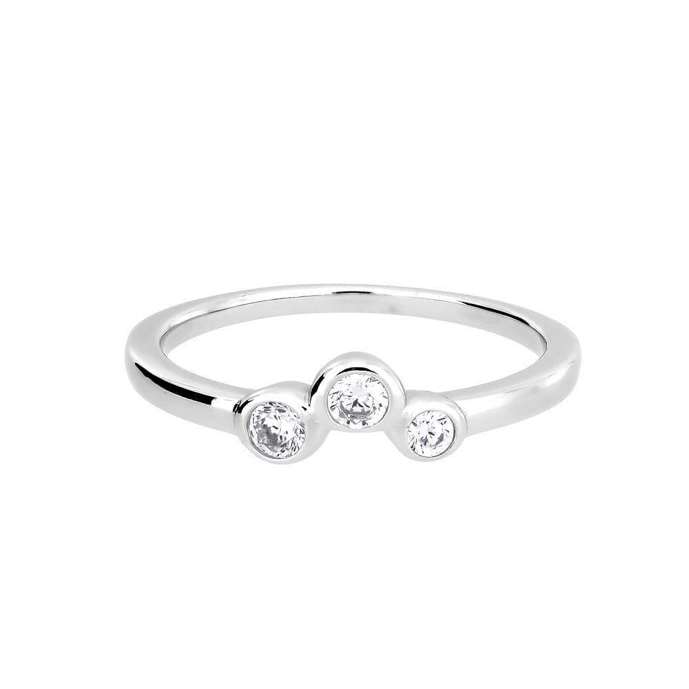 Silver & Cubic Zirconia Trilogy Ring