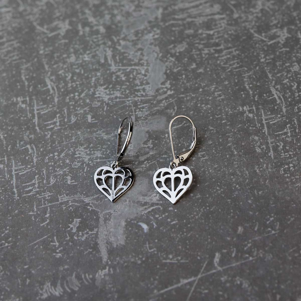 Silver Cut-Out Heart of Yorkshire Drop Earrings