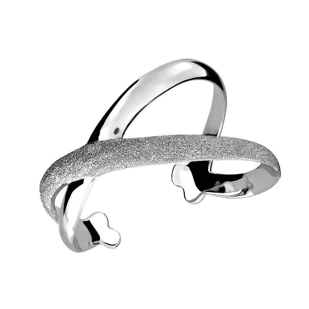 Silver Diamond-etched Crossover Cuff Bangle