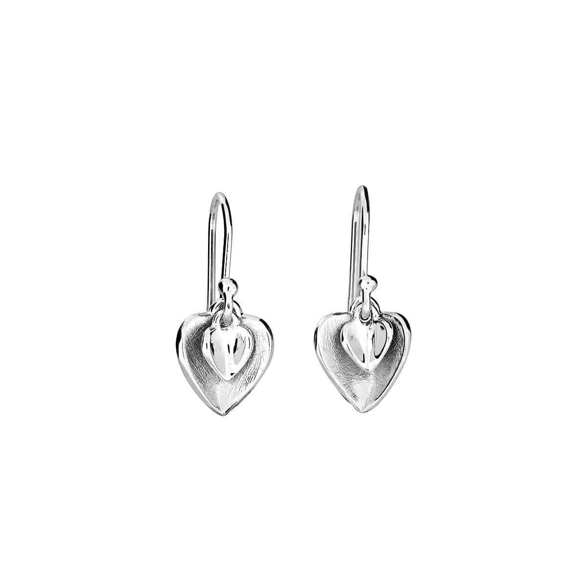 Silver Double Heart Drop Earrings