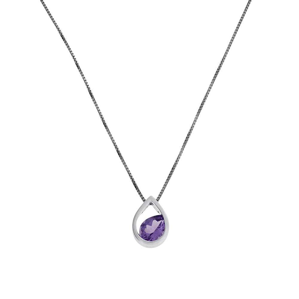Silver Droplet Pendant with Amethyst