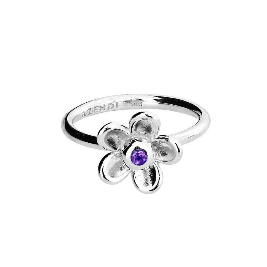 Silver Flower Ring with Amethyst Stone