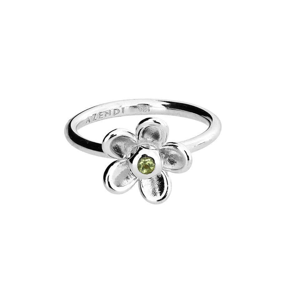 Silver Flower Ring with Peridot  Stone