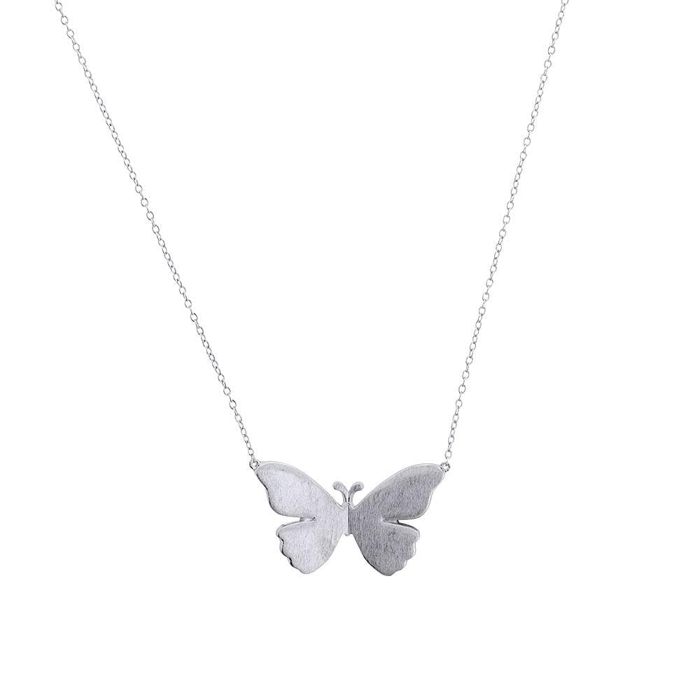 Silver Folded Butterfly Necklace