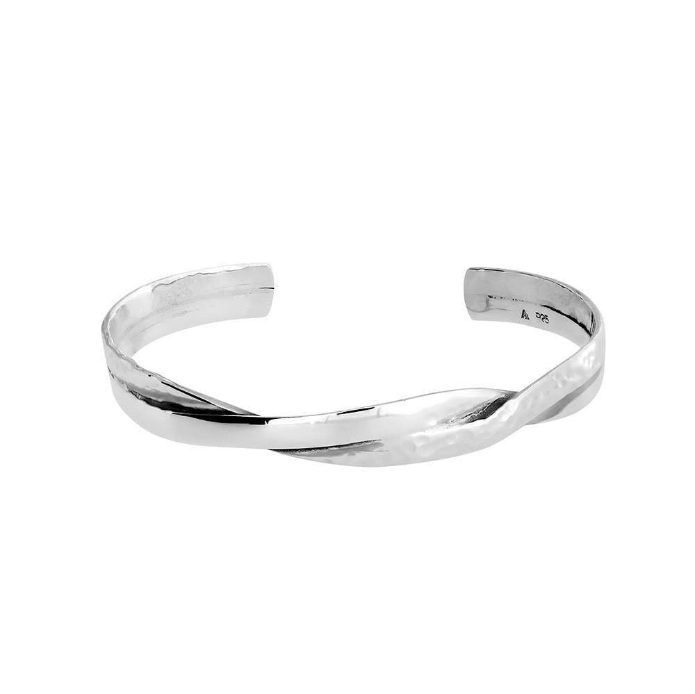 Silver Hammered Crossover Cuff