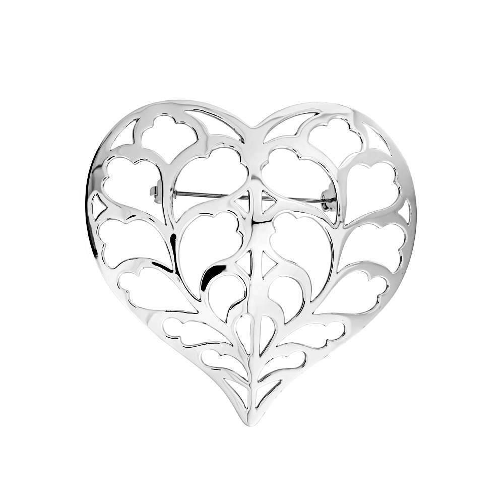 Silver Heart of Yorkshire Brooch - Large