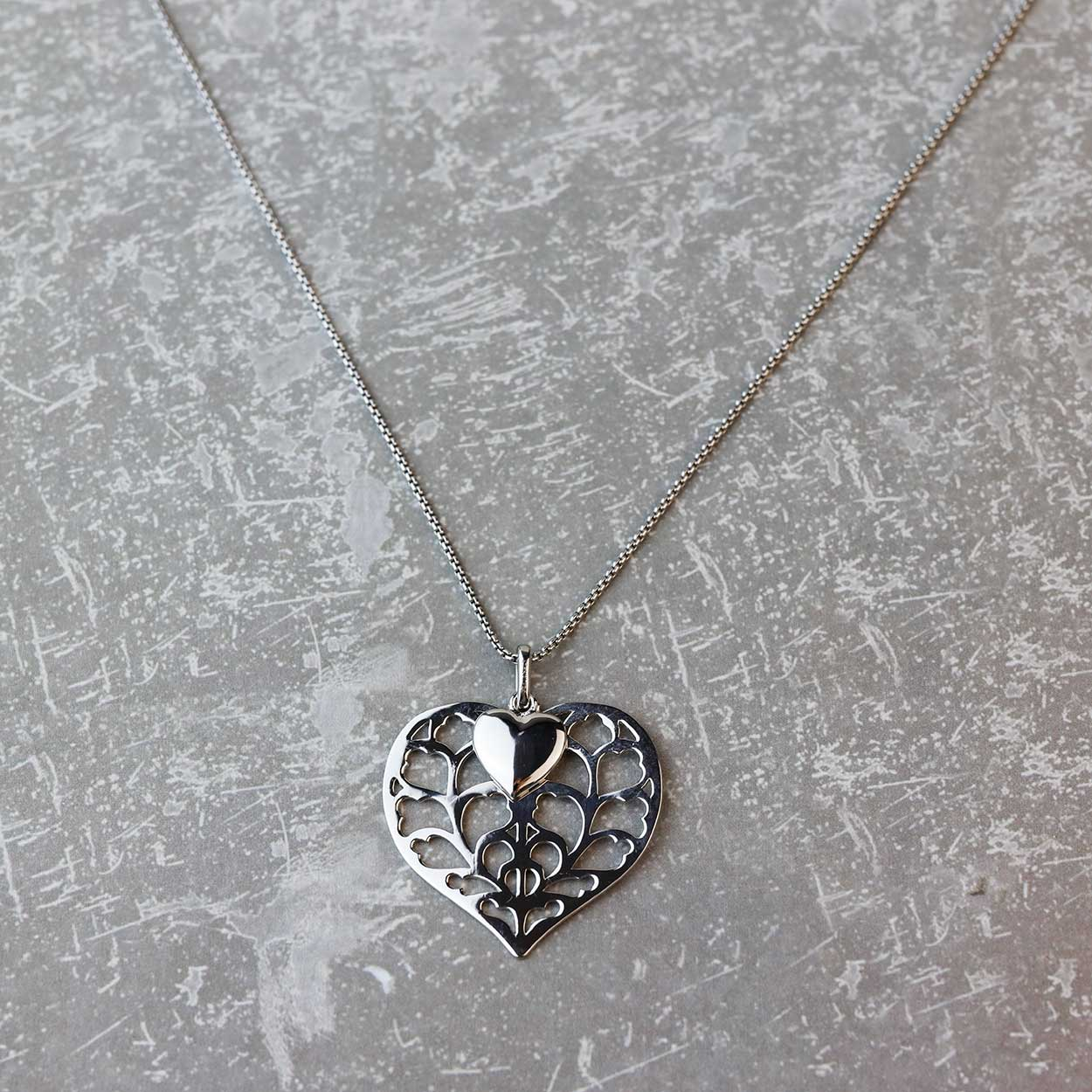 Silver Heart of Yorkshire Double Pendant