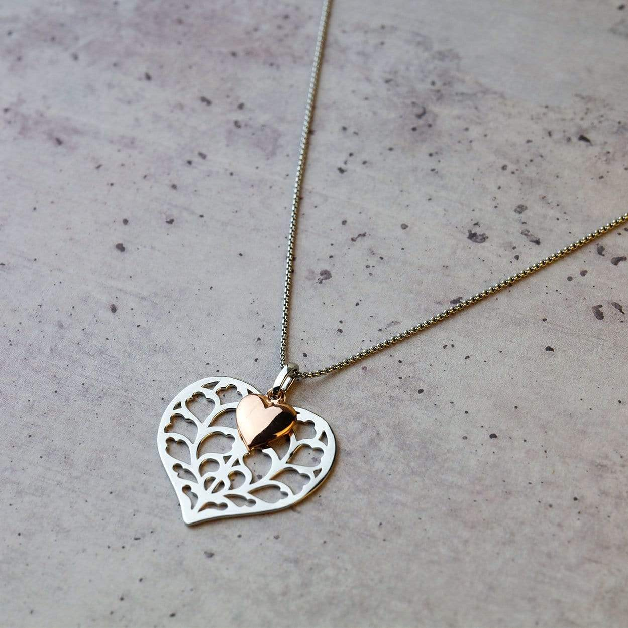 Silver Heart of Yorkshire Double Pendant with Rose Gold Vermeil