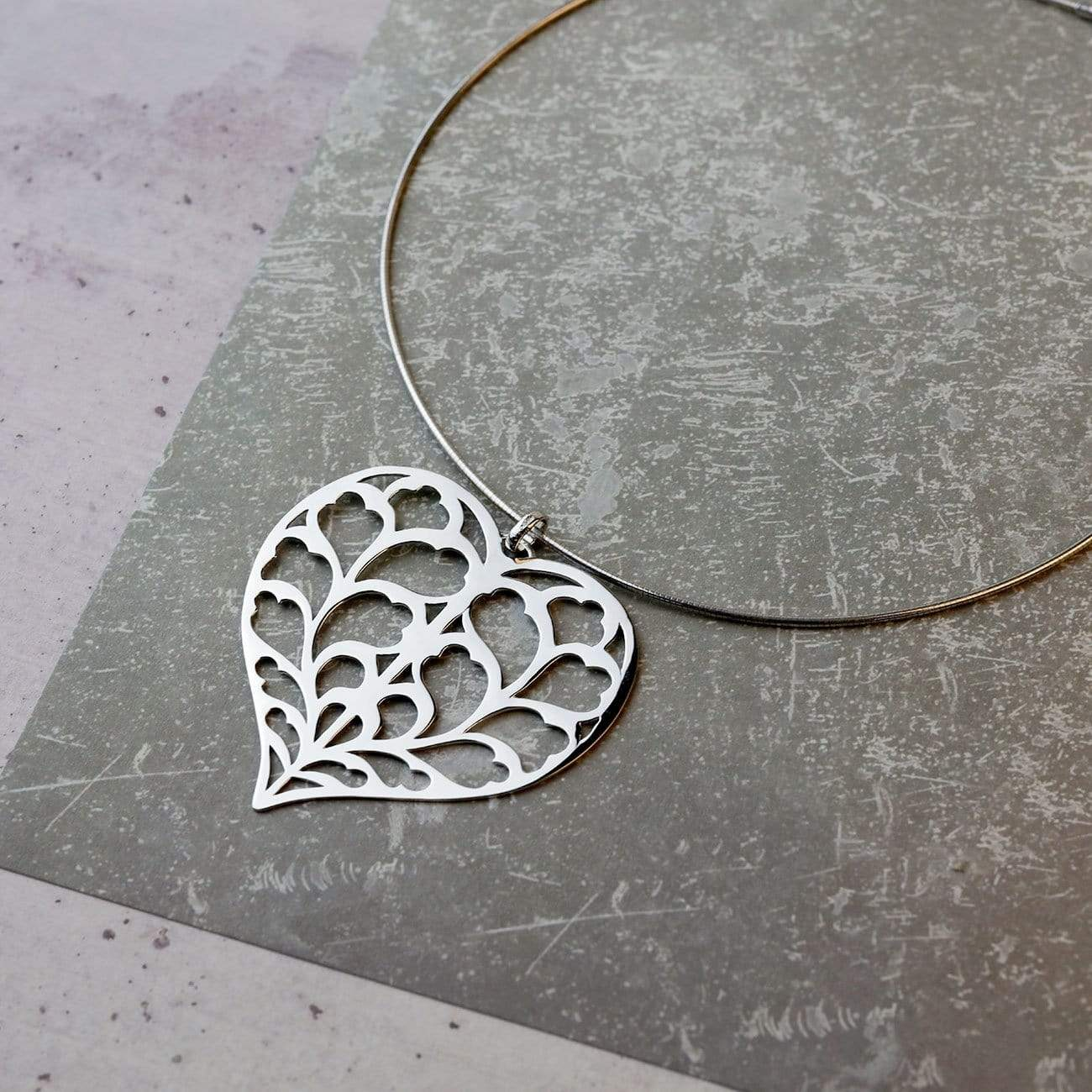 Silver Heart of Yorkshire Pendant on Collar