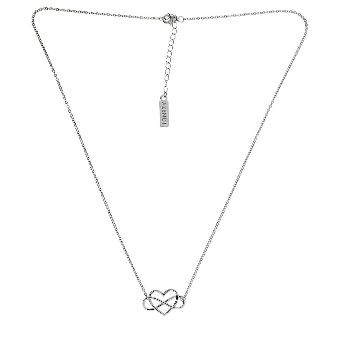 Silver Infinity Heart Interlinked Necklace