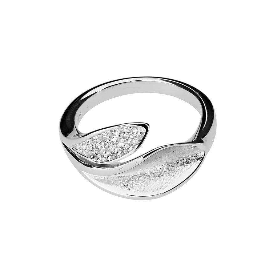 Silver Leaf Ring with Pavé