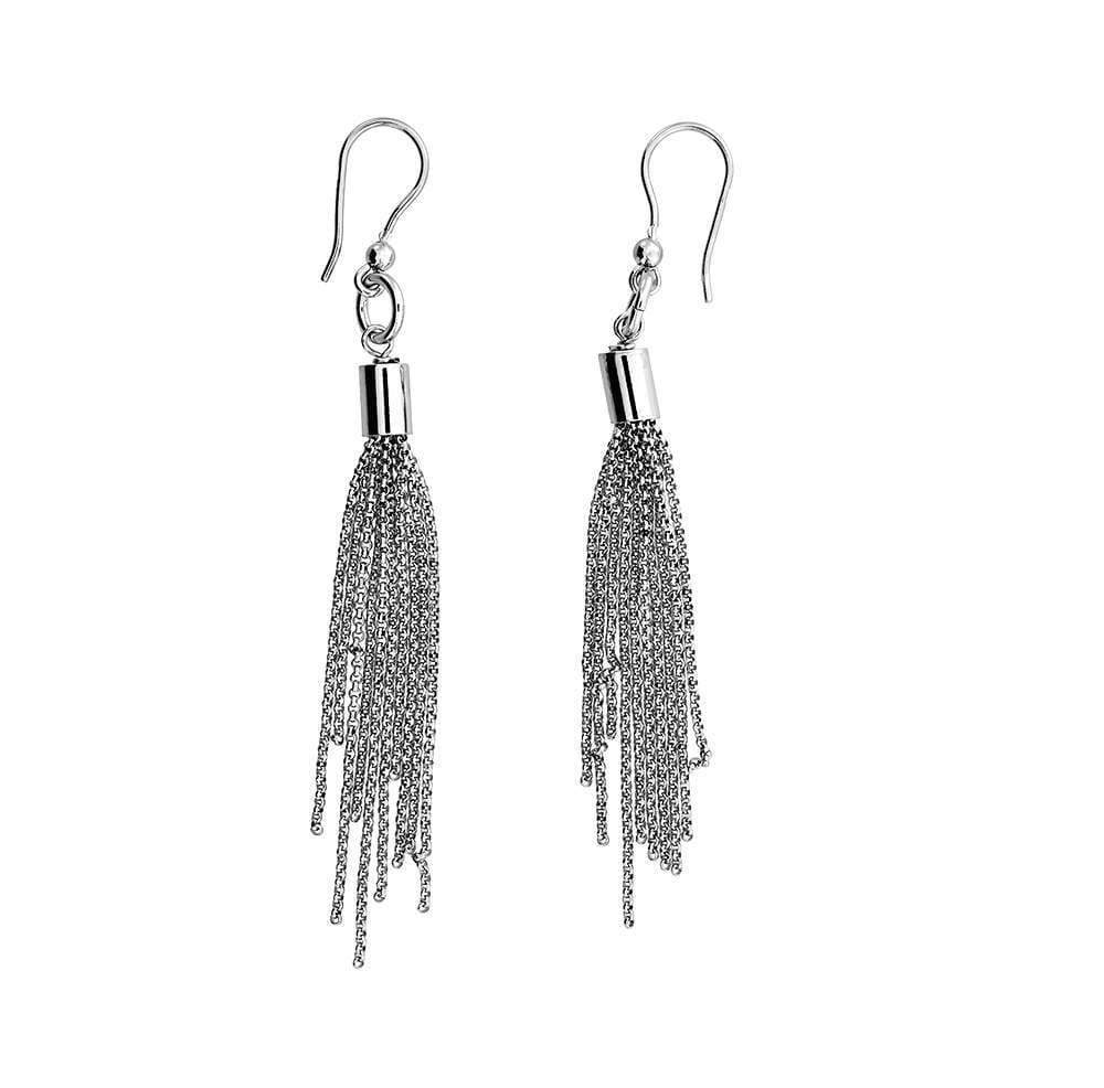 Silver Long Tassel Drop Earrings