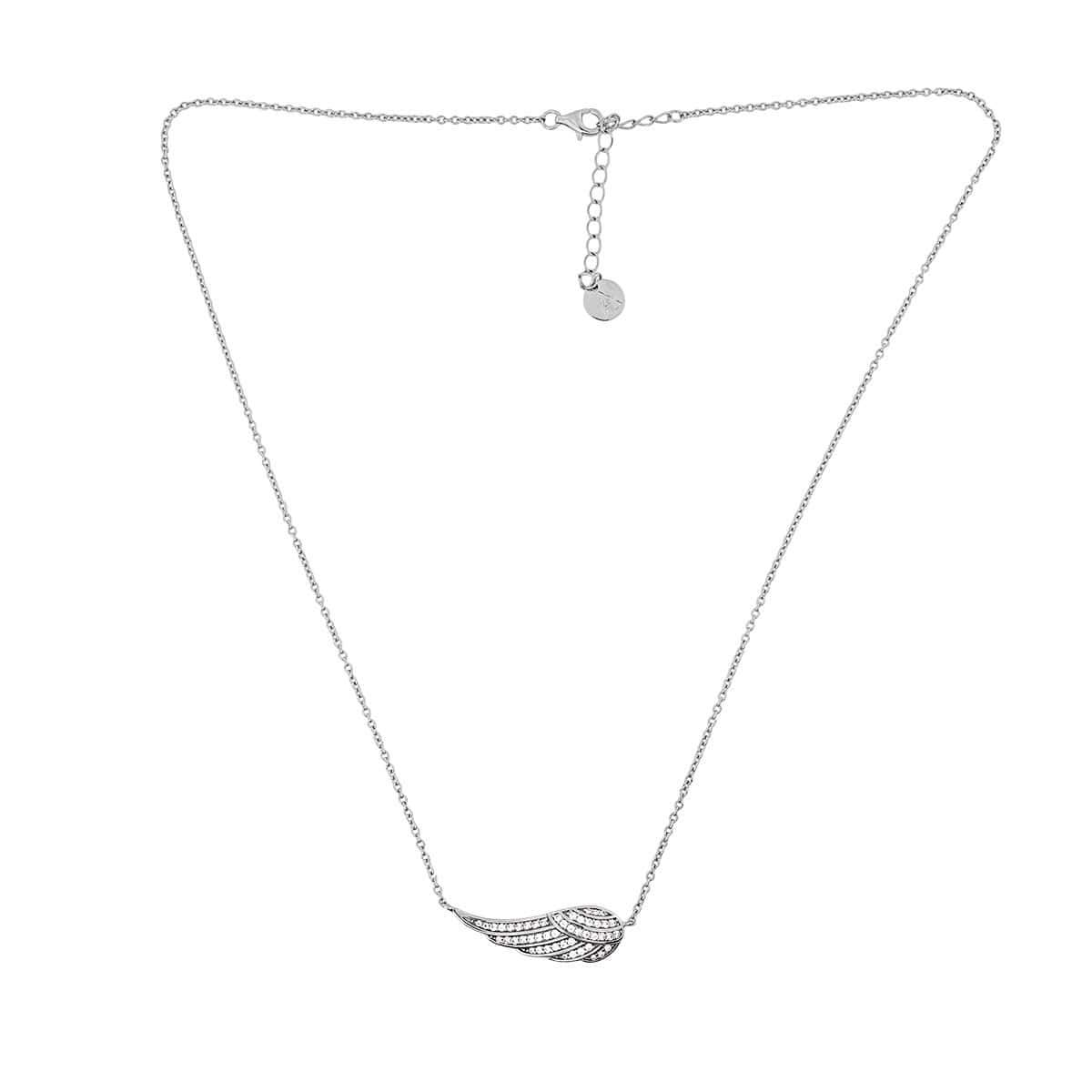 Silver Pavé Angel Wing Necklace