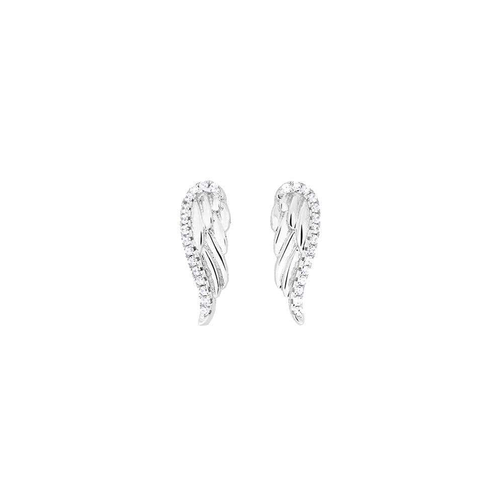 Rose Gold Vermeil Pavé Angel Wing Studs