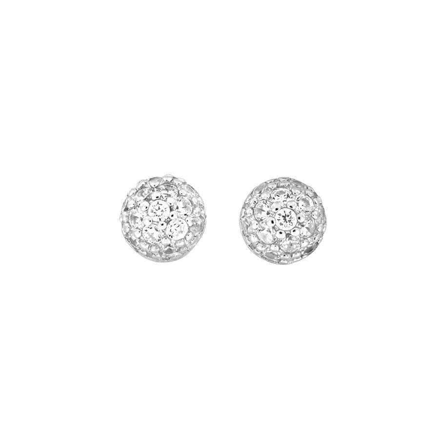 Silver Pavé Dome Stud Earrings