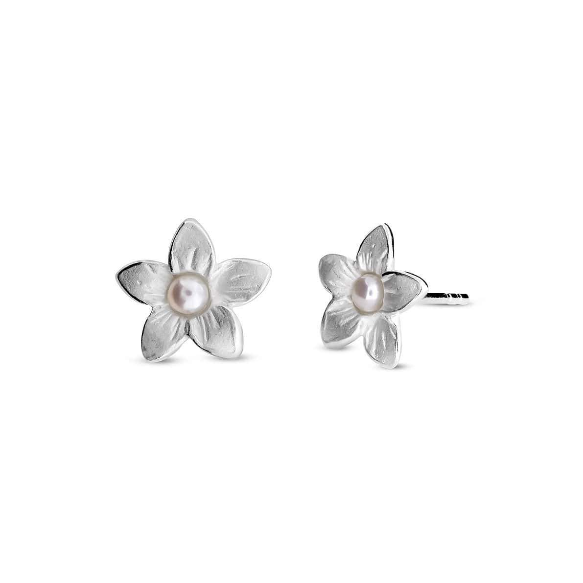 Silver & Pearl Frosted Flower Studs