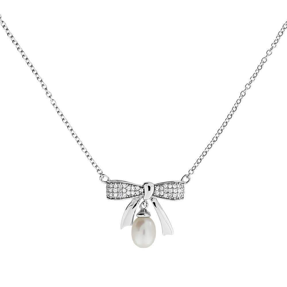 Silver Pearl & Pavé Bow Necklace