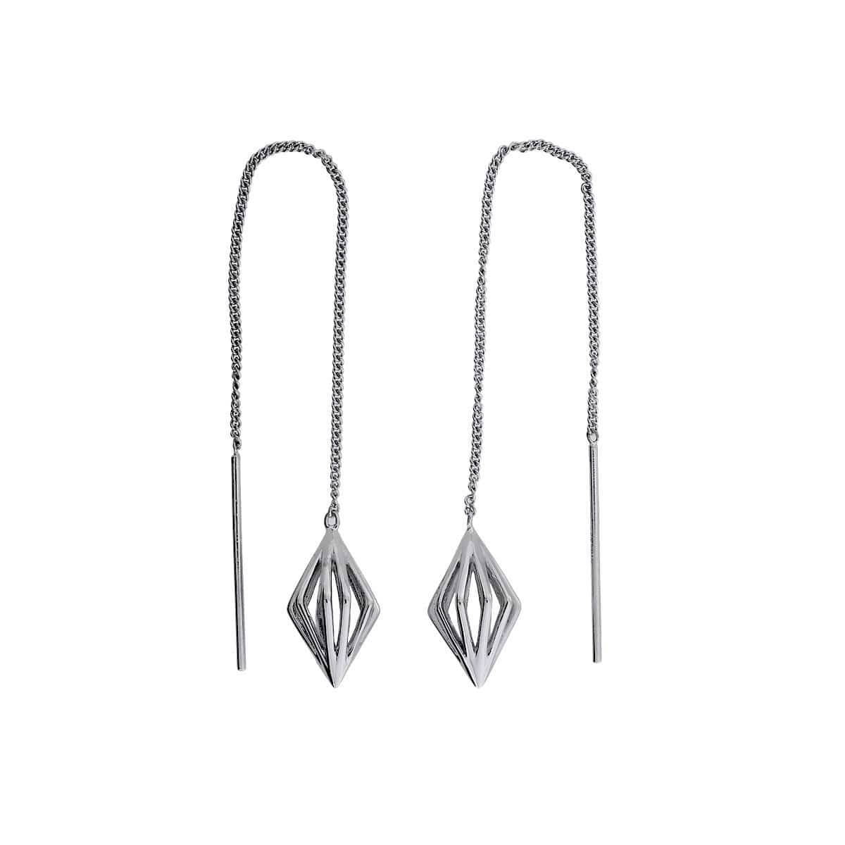 Silver Prismatic Threader Earrings