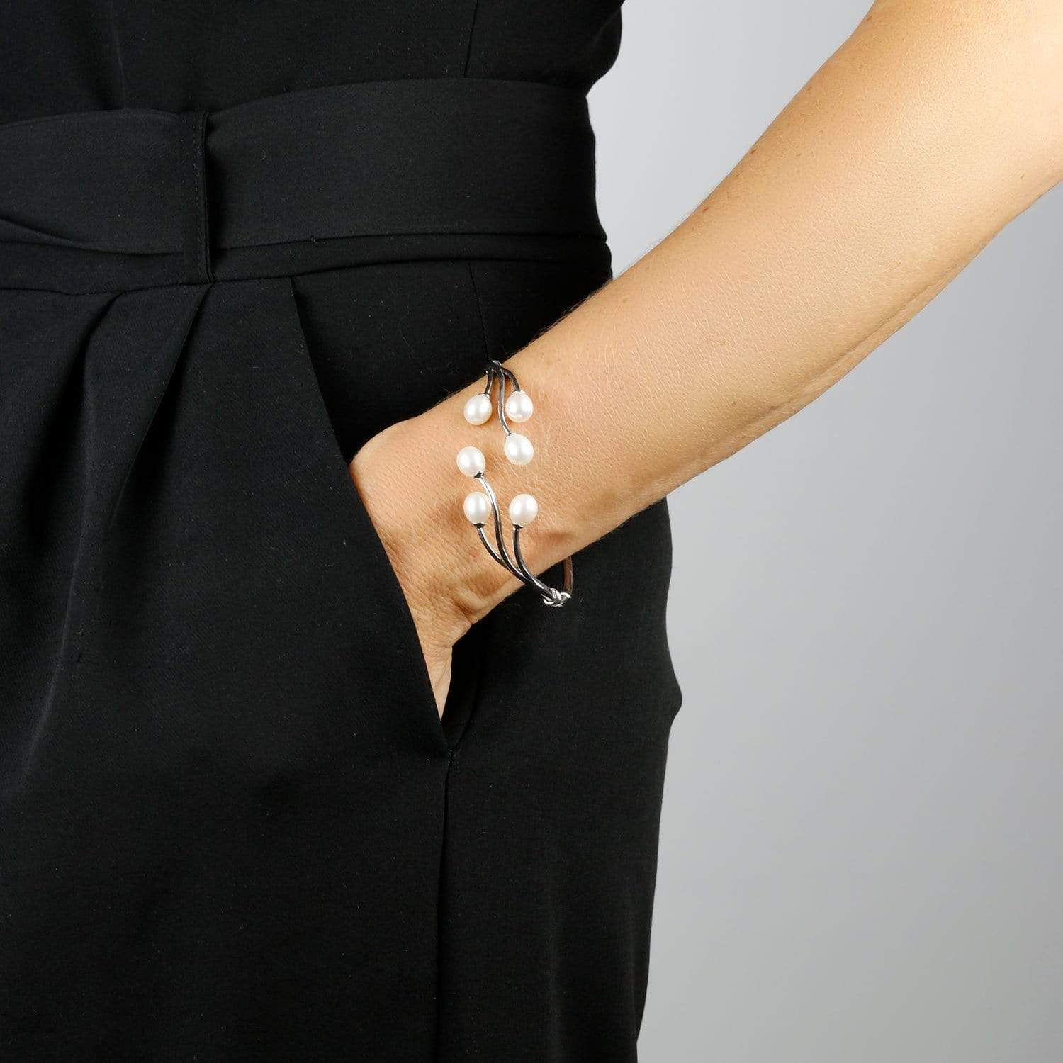 Silver & Six Pearl Bangle