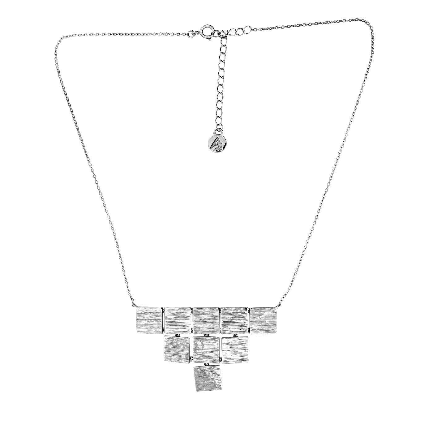 Silver Textured Squares Necklace