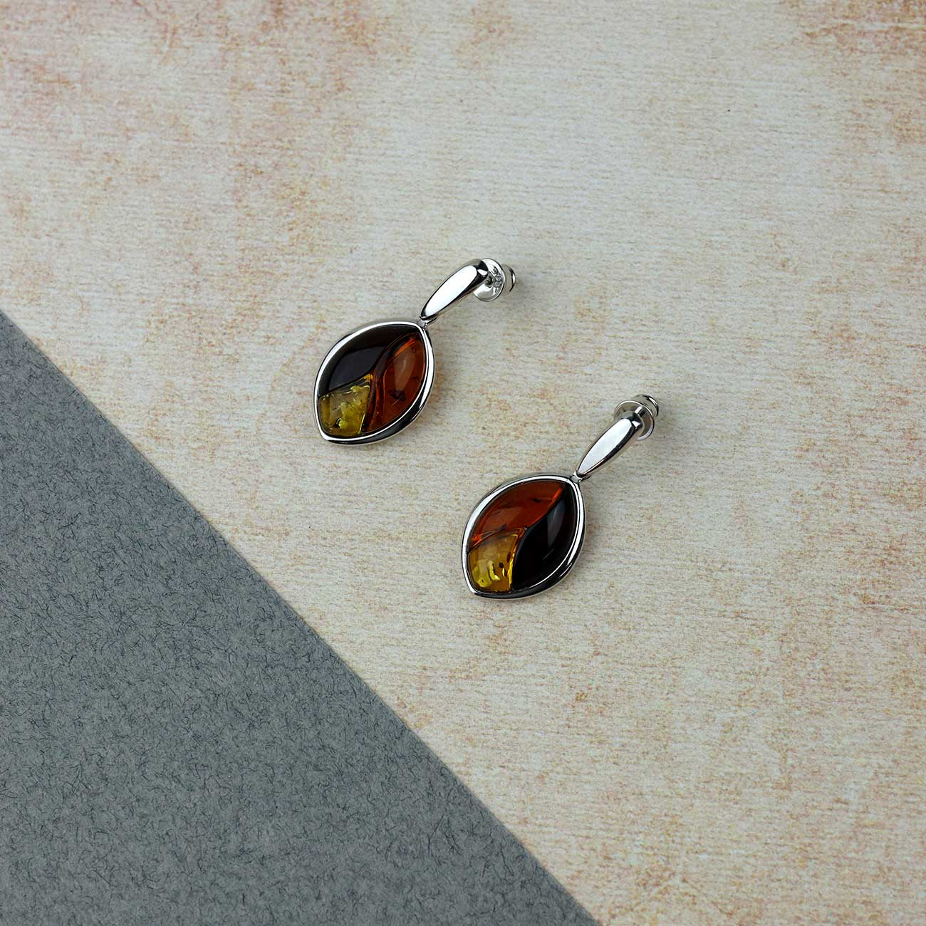 Silver Three Colour Amber Leaf Earrings