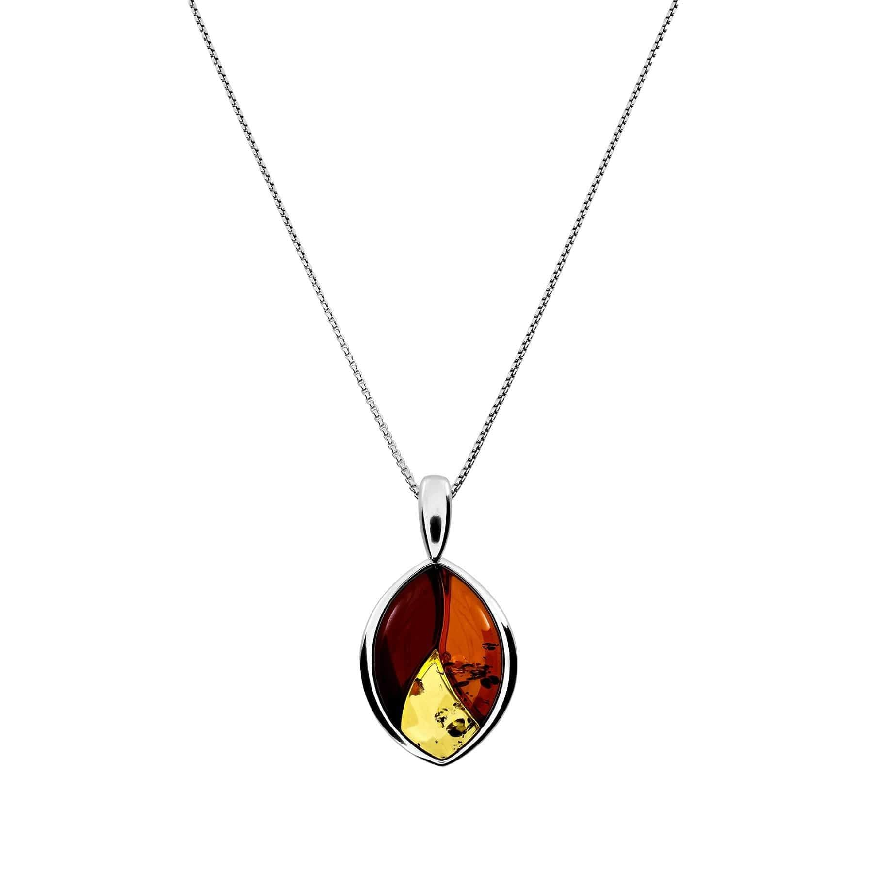Silver Three Colour Amber Leaf Pendant