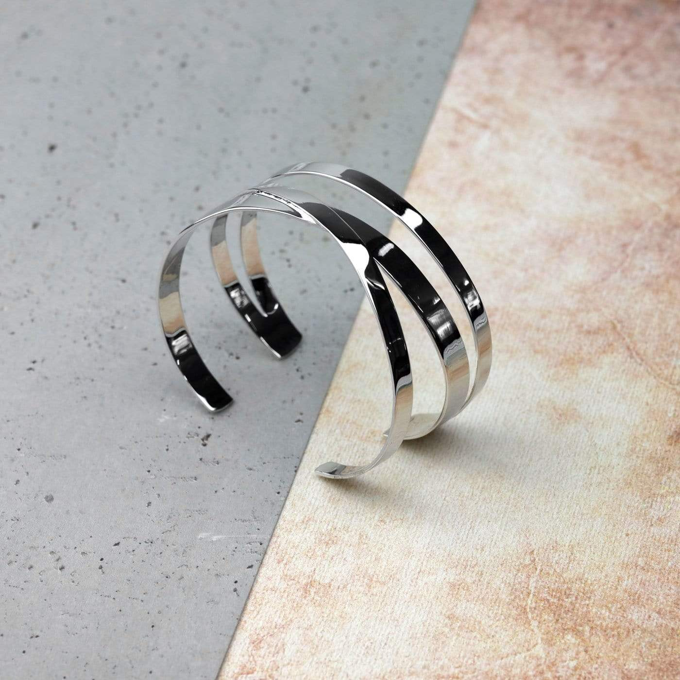 Silver Three-Strand Crossover Cuff Bangle