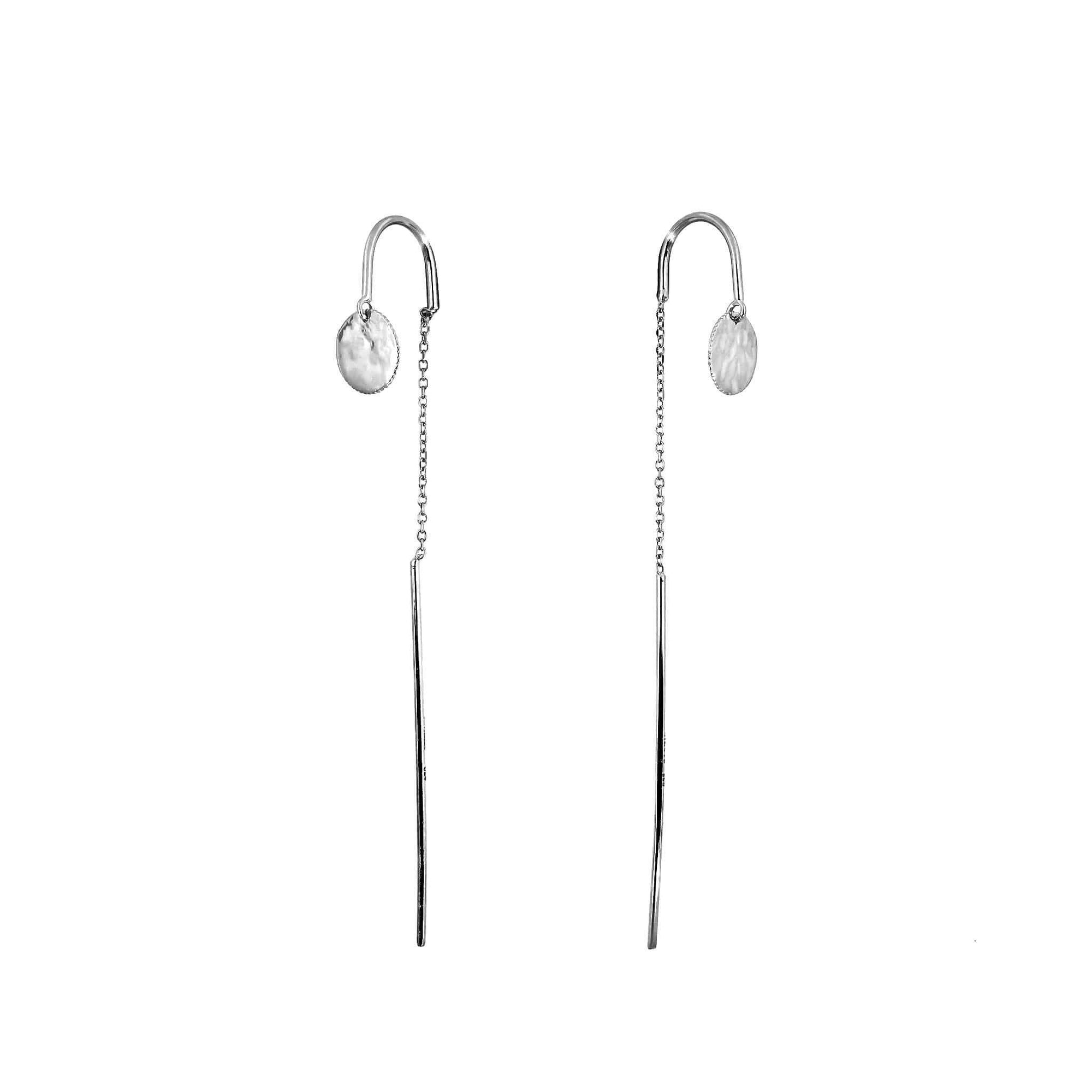 Silver Tribeca Planished Disc Pull-Through Earrings