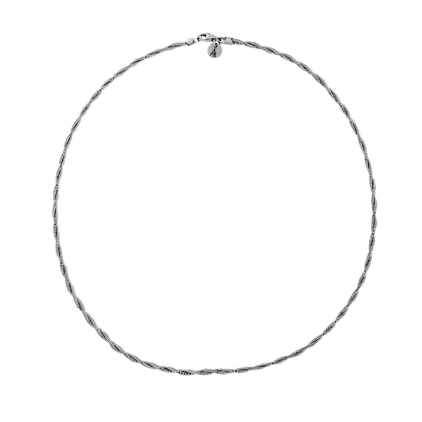 Silver Two Strands Silver Collar Necklace