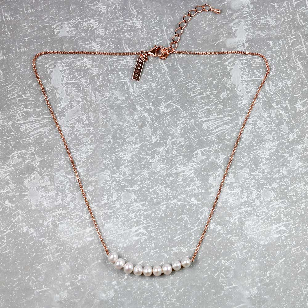 Silver Simple Pearl Strand Necklace - Nine Pearls