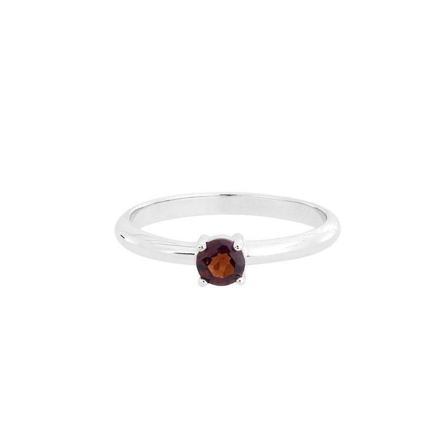 Solitaire Garnet  Silver Ring