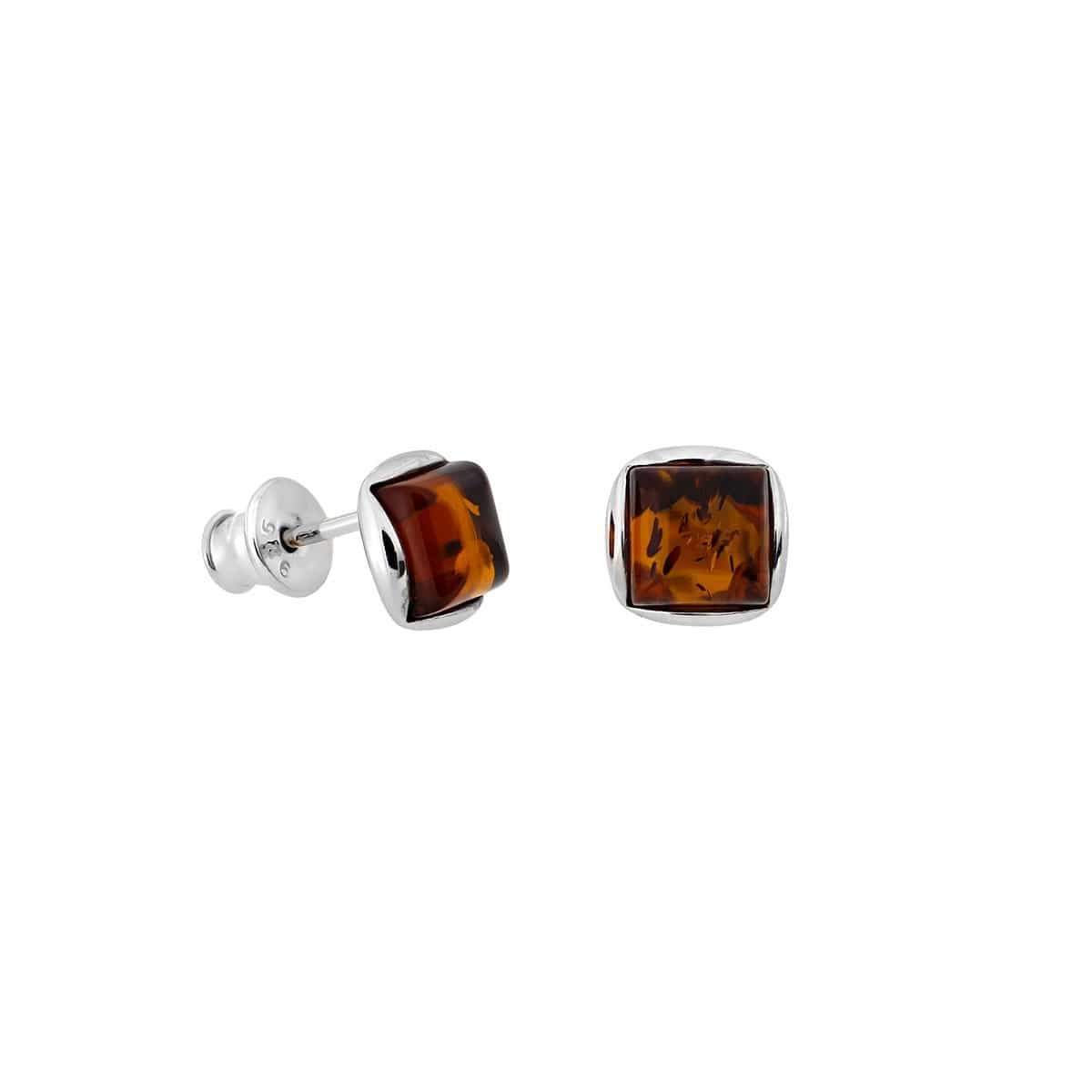 Square Amber Stud Earrings