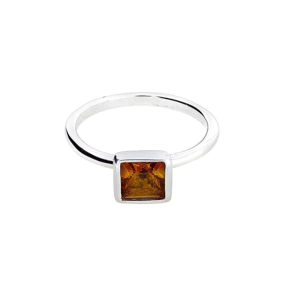 Square  Citrene & Silver RIng