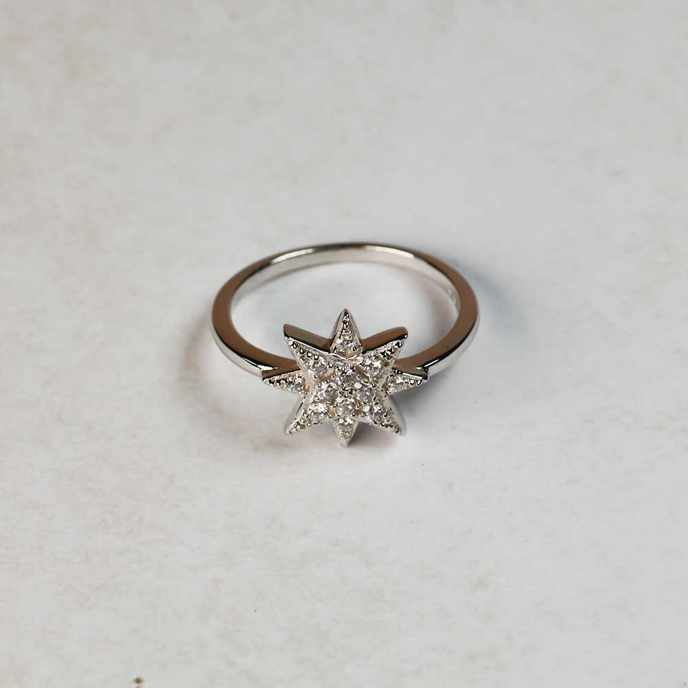 Sterling silver and pavé cubic zirconia eight-point star ring