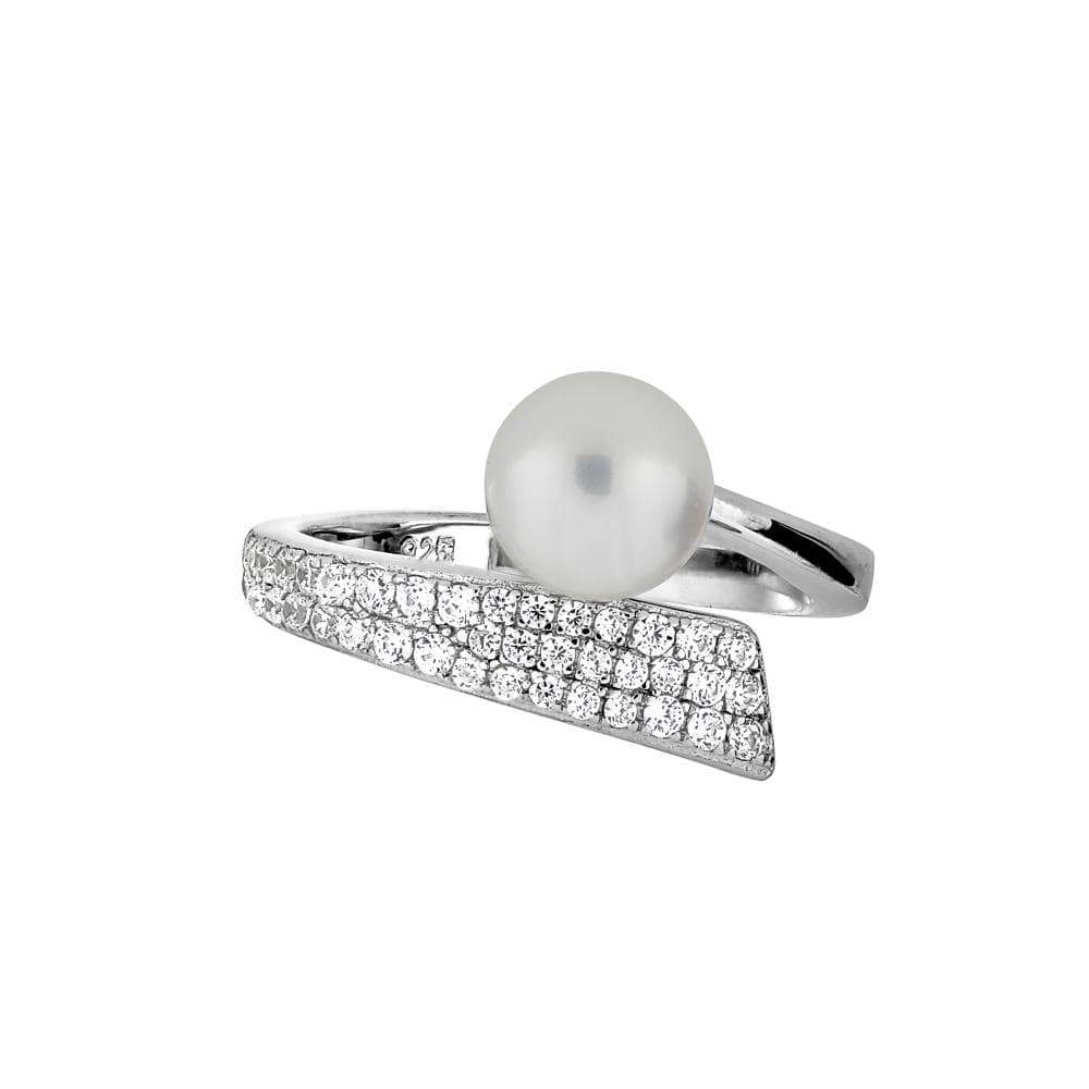 Sterling silver, freshwater pearl and pavé curl ring