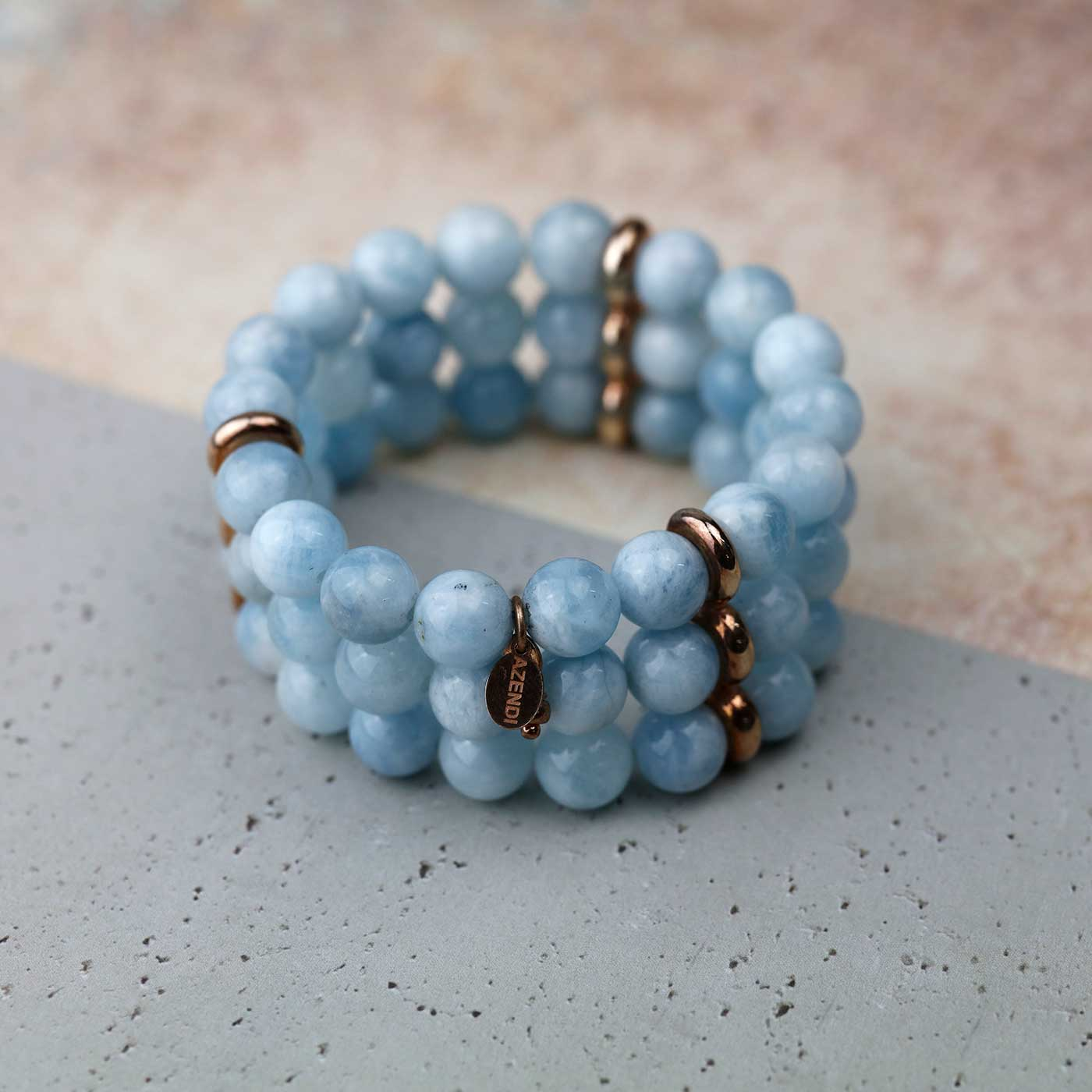 Triple Strand Aquamarine Stretch Bracelet