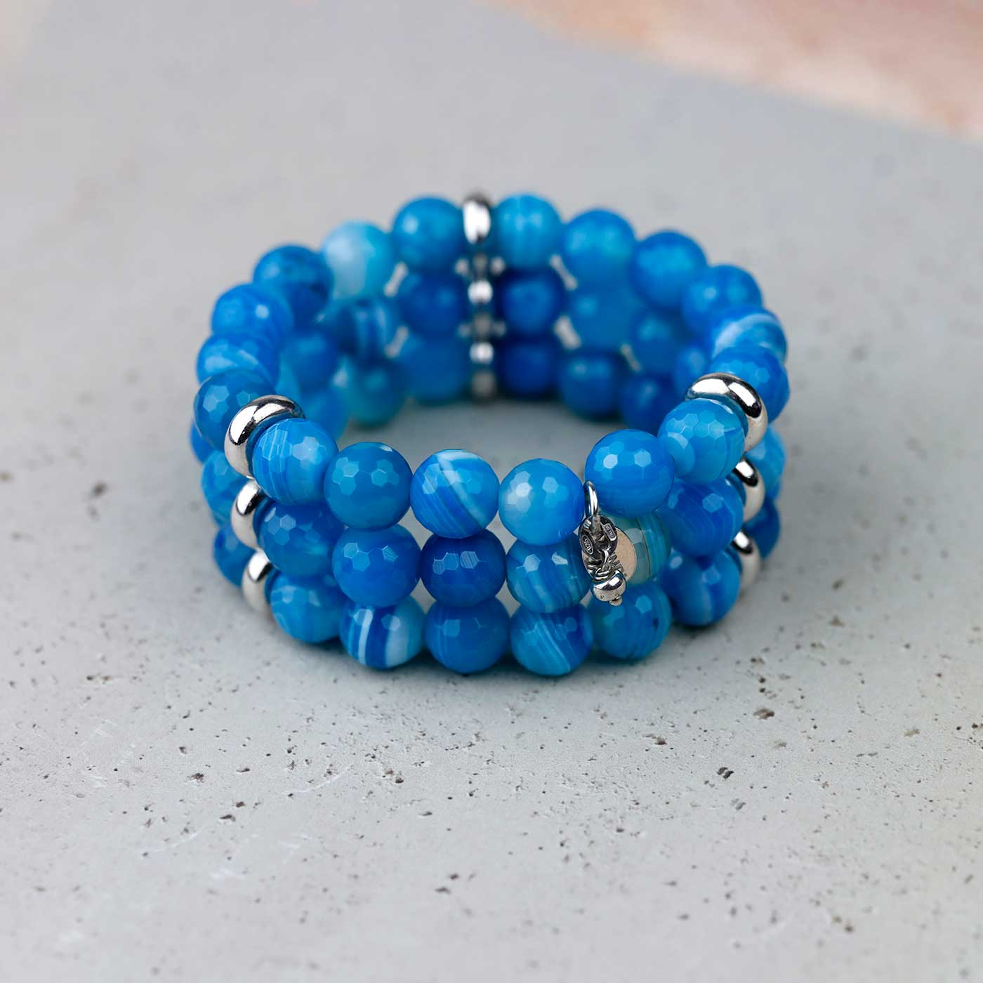 Triple Strand Blue Agate Stretch Bracelet