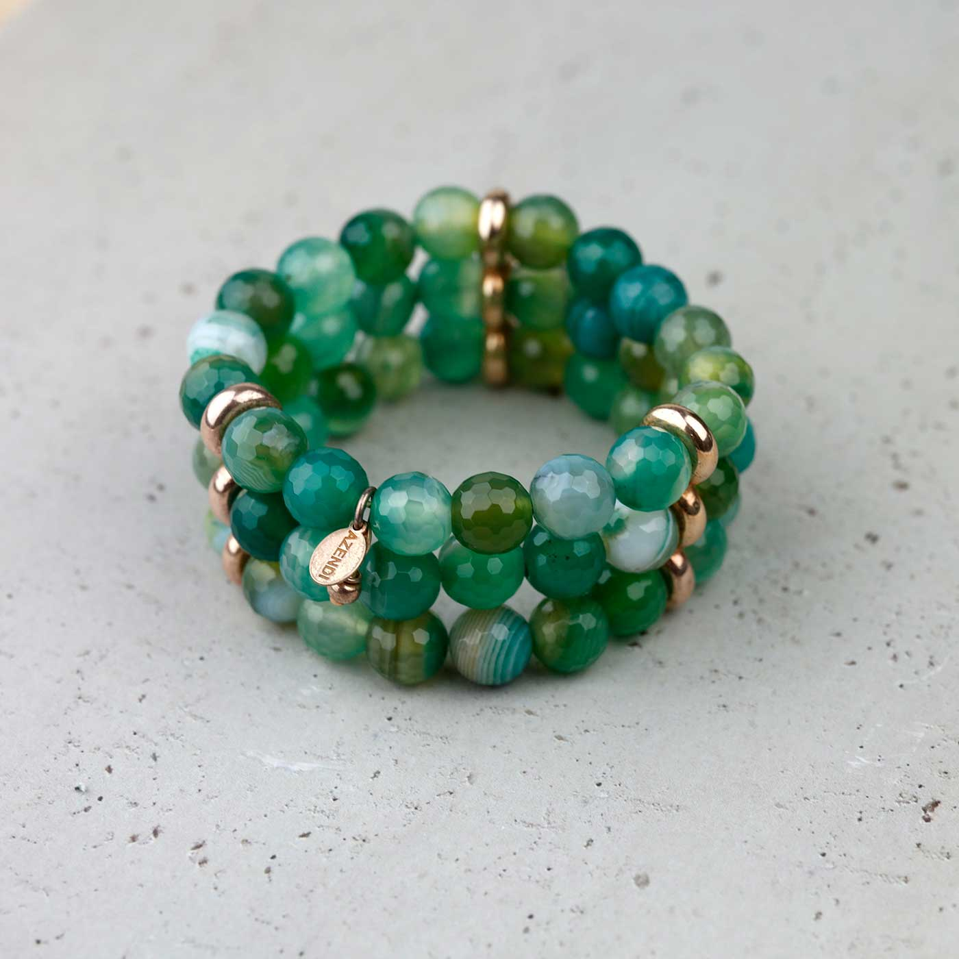 Triple Strand Green Agate Stretch Bracelet