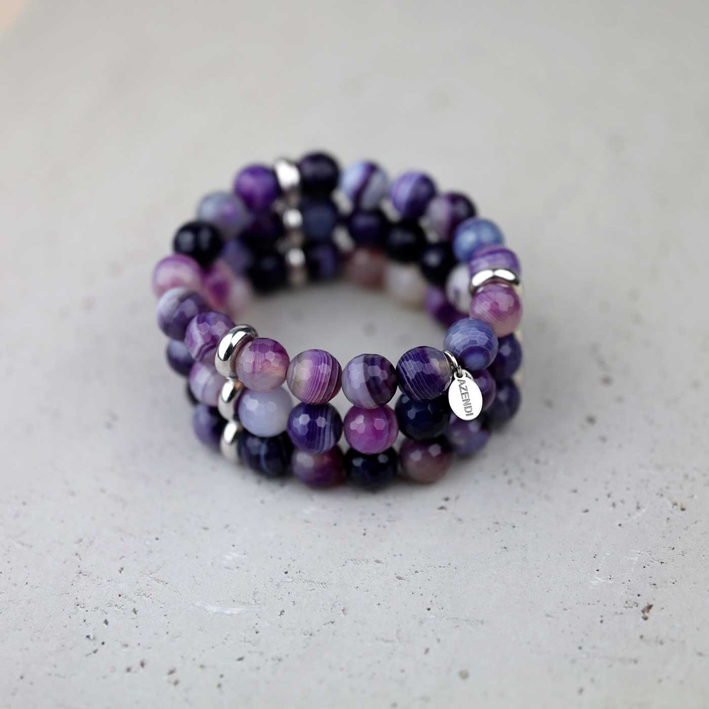 Triple Strand Purple Agate Stretch Bracelet