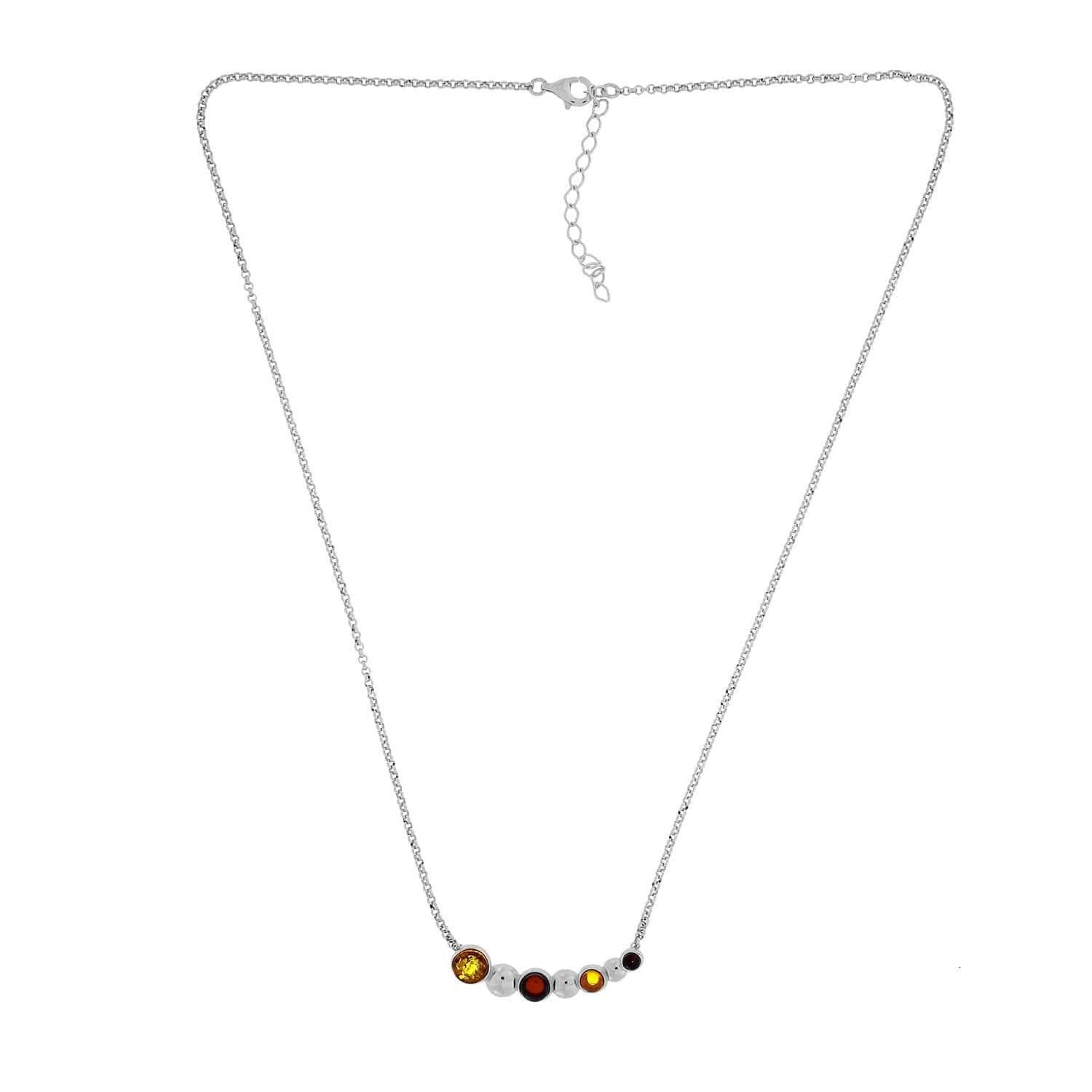 Two-Colour Amber Curving Beaded Necklace