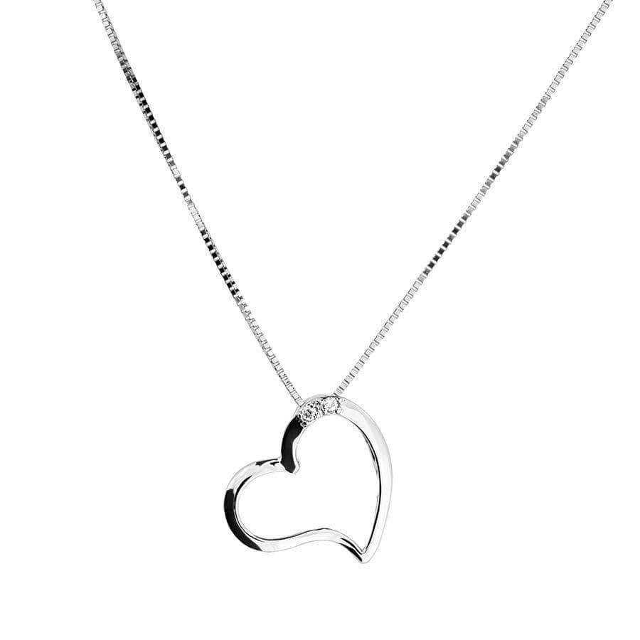 White Gold & Diamond Open Heart Pendant