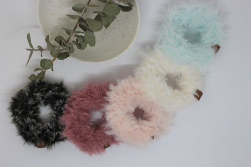 Bunny Tail Crochet Scrunchies