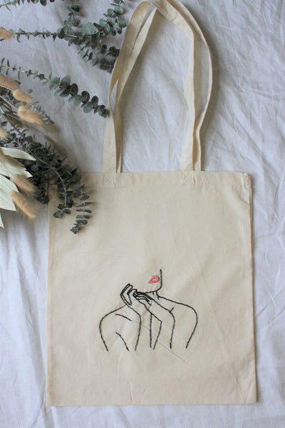 Blush Dreams || Hand Embroidered Market Tote
