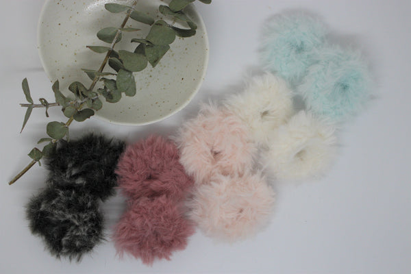 Toddler Bunny Tail Crochet Scrunchies