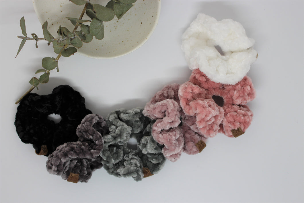 Toddler Luxe Velvet Crochet Scrunchies