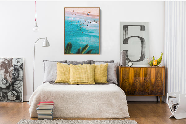 People On The Beach Stretched Canvas Wall Art