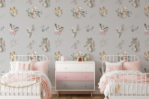 Floral Wallpaper Pattern With Australian Native Animals